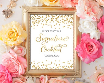 PDF Template 8x10 Signature Cocktail Sign INSTANT DOWNLOAD Gold Glitter confetti calligraphy Wedding Signature Bar Sign Printable Digital