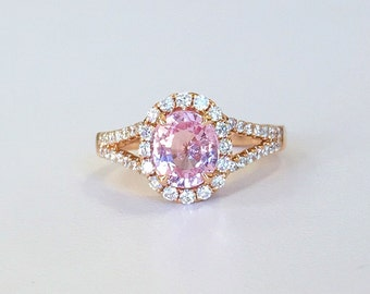 1.91ct Pink Sapphire and Diamond Ring in 18K Rose Gold