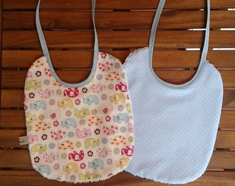 Pair of bibs for Brats with elephants and pois (Bib)