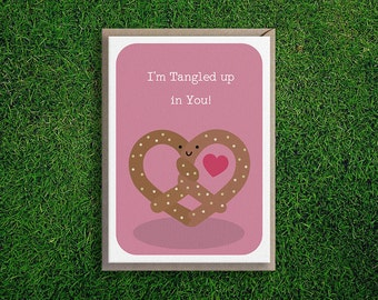 Greeting Cards | Tangled in You Card, Anniversary, Romantic, Cute Funny & Quirky Pretzel Food Card, Boyfriend, Girlfriend, Husband Wife Pink