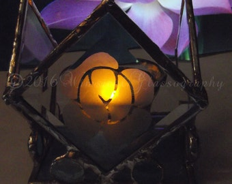 Diamond Bevel Etched Stained Glass Candle Holder