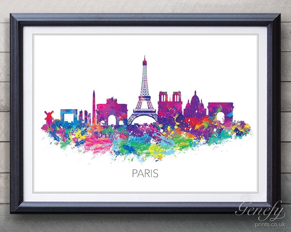 Paris Skyline Watercolor Art Poster Print Wall Decor