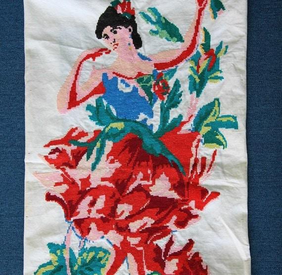 Vintage ukrainian embroidery spanish dance carmen original