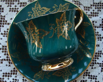 HM Sutherland - Bone China Made in England - Vintage Tea Cup and Saucer - Dark Green with Gold Grape Leaves, Handle, Foot and Trim
