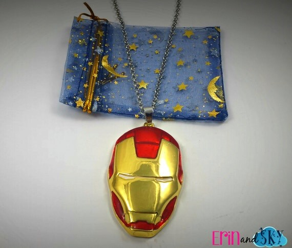 Iron Man Helmet Necklace - FREE SHIPPING - Marvel Comics Inspired Superhero Jewelry Gift -