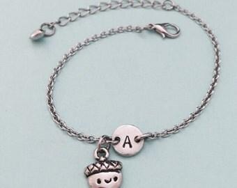 Acorn charm bracelet, acorn charm, adjustable bracelet, nature, personalized bracelet, initial bracelet, monogram