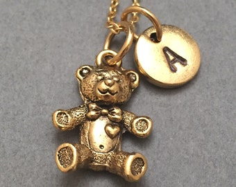 Teddy bear necklace, teddy bear charm, stuffed animal, personalized necklace, initial necklace, initial charm, monogram, bear necklace