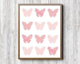 Butterfly Nursery / Girls Room Wall Decor - Pink Butterfly Collage Wall Art - Baby Girl - Digital Artwork - Printable Art