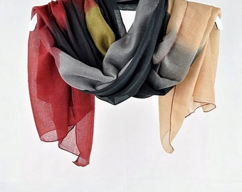 Red Scarf, Black Scarf, Gray Scarf, Peach Scarf, Accessories, Gift For Her, gift for coworker, gift for boss, best friend (VS-28-05)