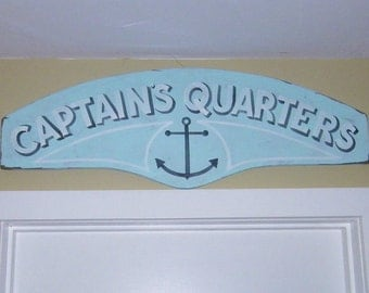 Marine Decor, Rustic Sign, Captain's Quarters