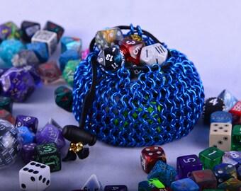 Blue Dice Bag / Dice Bag / Dicebag / Chainmail Dice Bag / Blue Chainmail Dice Bag / Steampunk Dice Bag / Dice Tray / Dice Box / Dice