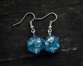 Teal Blue Silver Earrings