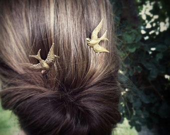 Bird Hair Combs Sparrow Hair Combs Gold Bird Headpiece Hair Clips