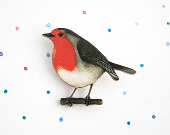Robin Brooch - laser cut wooden bird brooch / badge / pin from original illustration. Great animal gift, wildlife, bird lover