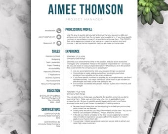 Modern Resume Template for Word and Pages 1-3 Page Resume