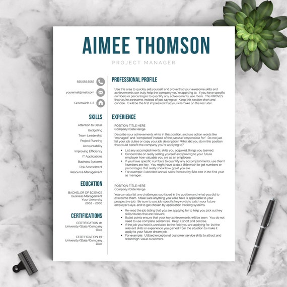 Creative Resume Template For Word U0026 Pages | 1, 2 And 3 Page Resume  Templates | Resume Template, Icon Set, Cover Letter, Tips | Modern Resume  3 Page Resume