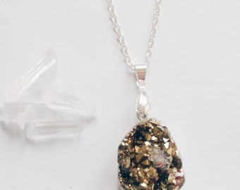 Gold Druzy Necklace, Gemstone Necklace,  Druzy Pendant