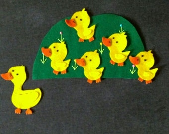 5 Little Ducks Felt Story Set // Flannel Board Story Set // Preschool // Teacher Story // Counting //