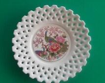 Vintage Japanese Peacock Pierced Porcelain Dish Plate