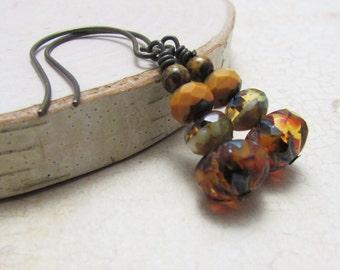 Czech Glass Picasso Beads and Vintaj Brass  Earrings