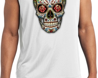 Men's Skull Shirt Sugar Skull with Roses Sleeveless Moisture Wicking Tee T-Shirt WS-16553-ST352