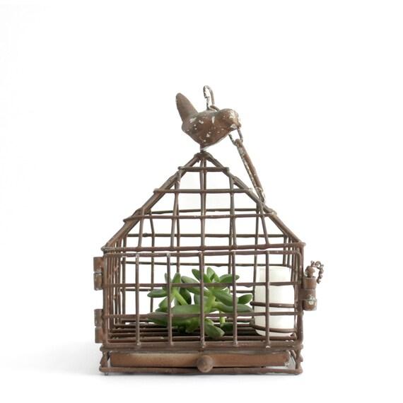 vintage metal bird cage hanging bird cage centerpiece. Black Bedroom Furniture Sets. Home Design Ideas