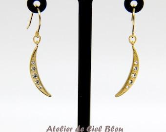 Moon Earrings, Gold Moon Earrings, Cubic Zirconia Moon Earrings, Gold CZ Moon Earrings, Moon Dangle / Drop Earrings, Moon Jewelry