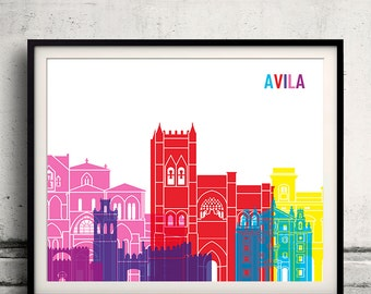 Avila skyline pop 8x10 in. to 12x16 in. Fine Art Print Glicee Poster Gift Illustration Pop Art Colorful Landmarks - SKU 1201
