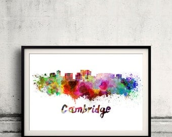 Cambridge MA skyline in watercolor over white background with name of city - Poster Wall art Illustration Print - SKU 1512