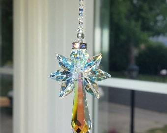 Swarovski suncatcher, Hanging Angel, crystal suncatcher, rainbow maker, Angel car charm, angel for car, crystal angel, guardian angel