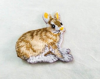 Rabbit Iron On Patch (M) -  Brown Fox cute Applique Embroidered Iron on Patch- Size 6.4x6.5 cm