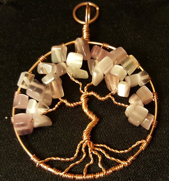 Green Cats Eye Glass Wire-Wrapped Tree of Life Pendant