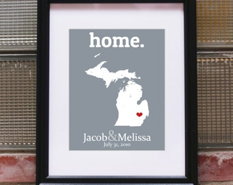 Michigan State Print Michigan Print Michigan Wall Decor 30th Wedding Anniversary Gift For Parents 12th Wedding Anniversary Gift Wedding Gift