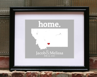 Anniversary Gift For Man Copper, Montana Wedding Gift, 65th Anniversary Gift, Birthday Gift For Him, Custom Map - Any State Or Country