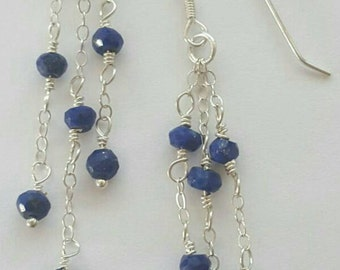 Natural Blue Lapis Gemstone & Sterling Silver Earrings