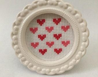 Heart Cross-Stitch in Frame - Love - Valentine's Day