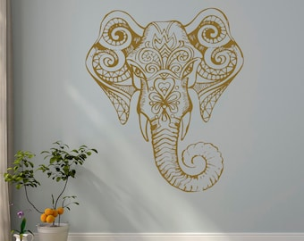 Gold Elephant Wall Decal- Indian Elephant Vinyl Decal- Yoga Wall Decal- Bohemian Elephant Bedroom Decor- Boho Elephant Vinyl Designs C114G