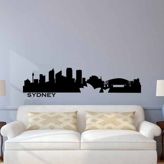 Sydney skyline wall decal city silhouette cityscape australia Home decor wall decor australia
