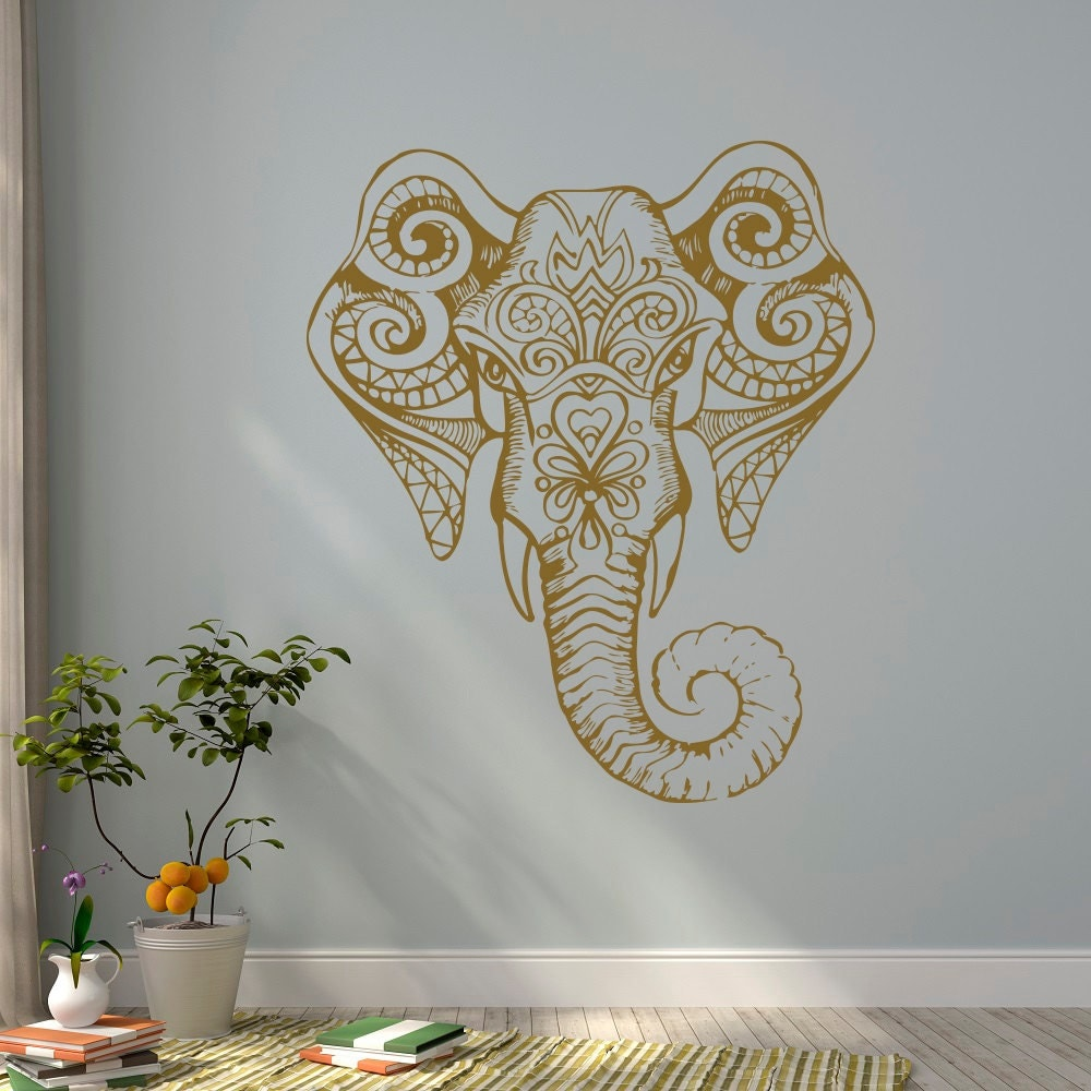 Gold elephant wall decal indian elephant vinyl decal yoga for Elephant wall mural