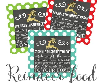 PRINTABLE Reindeer Food 2.75 x 2.75 in Red, Lime Green and Aqua