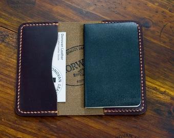 Business Card Holder - Burgundy Horween Chromexcel CXL - Moleskine Volant - Handcrafted 100%