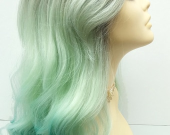 Long 20 inch Lace Front Light and Dark Mint Green Ombre Mermaid Fashion Wig with Premium Heat Resistant Fiber. [26-162-Geneva-TTMint]