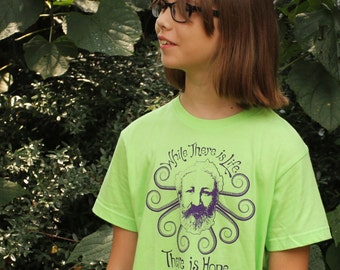 Jules Verne Youth & Kids Tee, T-Shirt, Steampunk, Science Fiction, Geek, Nerd, Sci-Fi, Nautical, Victorian, Literature, Famous Author, Book