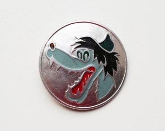 Vintage (4 cm) 1.57'' nu pagadi pogodi wolf animal brooch badge token clasp pinion pin button cordon band medallion pinbac