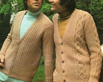 Men's Cardigan Knitting Pattern - 2 Styles - Double Knitting - 38 to 46 inches