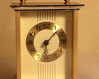 Small Brass Colored Mantel Clock Made in West Germany Quartz