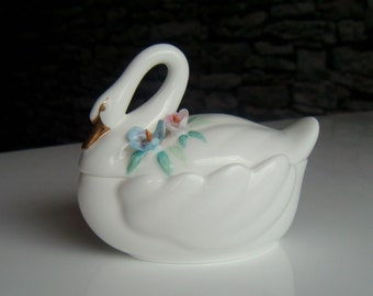 St. Michael Porcelain Swan Trinket Box, Made in Malaysia
