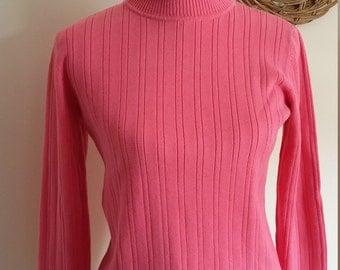 Pink turtleneck, S, M, cotton turtleneck, Talbots sweater, Talbots turtleneck, 70's turtleneck, roll neck sweater