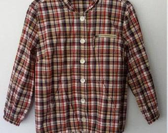 Plaid jacket, M, L, plaid windbreaker, cotton jacket, summer jacket, hooded jacket, spring jacket, preppy jacket