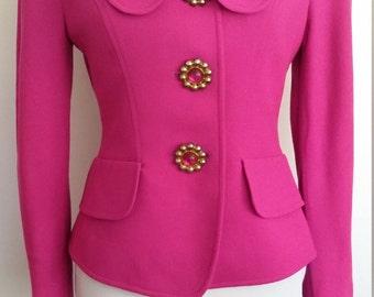 Pink jacket, S, pink blazer, magenta blazer, magenta jacket, wool blazer, pink wool blazer, 80's blazer, 80's jacket